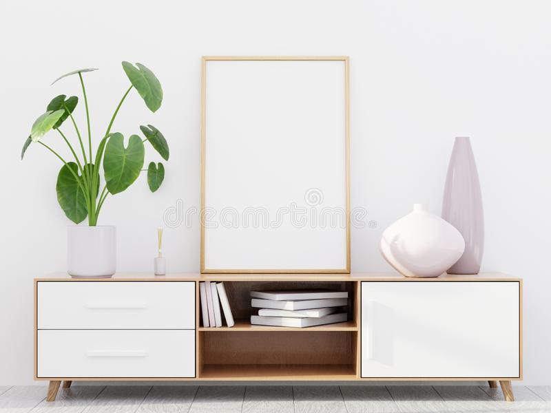 Modern living room interior with a wooden dresser and a poster mockup, 3D render royalty free stock photos