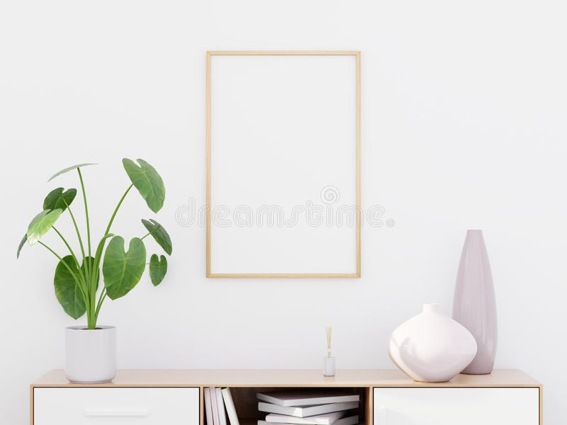 Modern living room interior with a wooden dresser and a poster mockup, 3D render stock photos