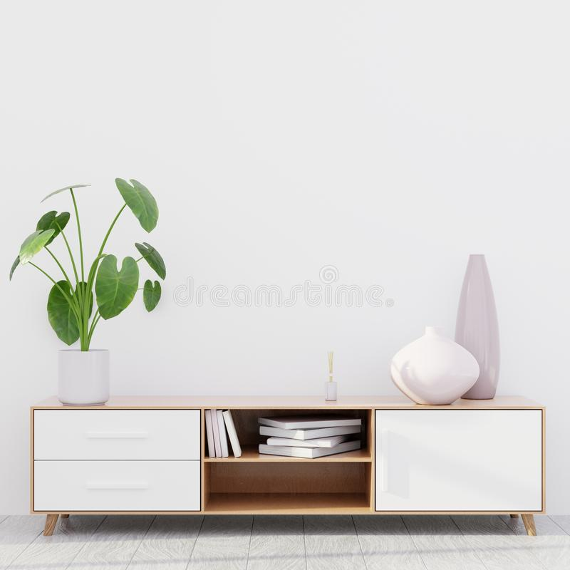 Modern living room interior with a wooden dresser, wall mockup, 3D render stock photography