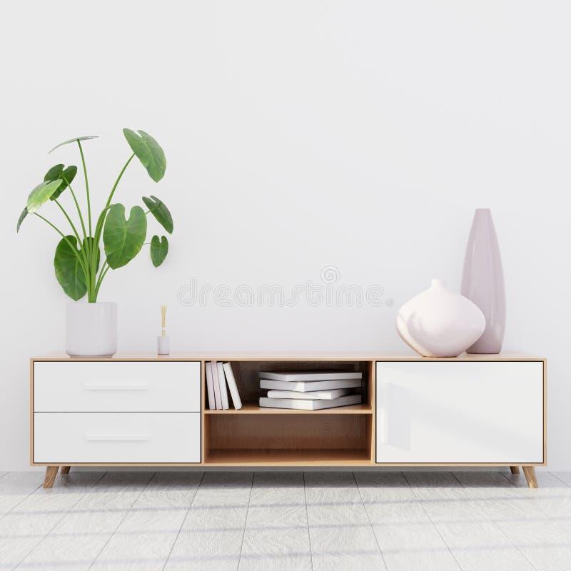 Modern living room interior with a wooden dresser, wall mockup, 3D render royalty free illustration