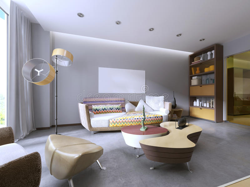 Modern living room in kitsch style. vector illustration