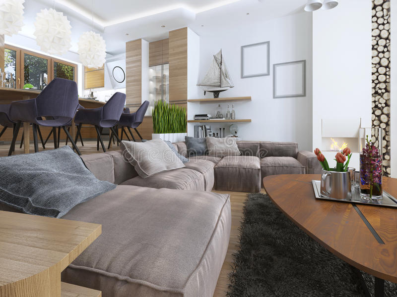 modern living room in a loft style stock photo image of corner brown 69043666. Black Bedroom Furniture Sets. Home Design Ideas
