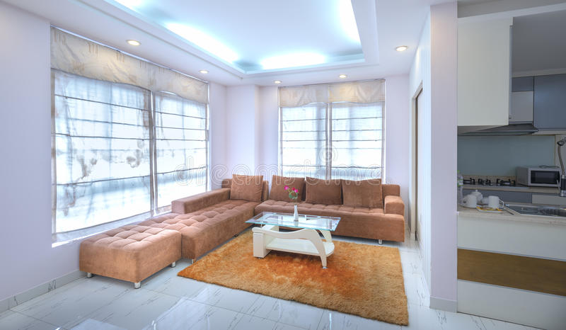 Modern living room in luxury apartments royalty free stock photos