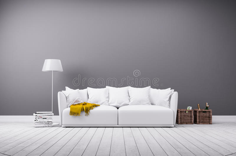 Modern living room in minimalistic style with sofa. Interior rendering of modern living room in minimalistic style with white leather sofa
