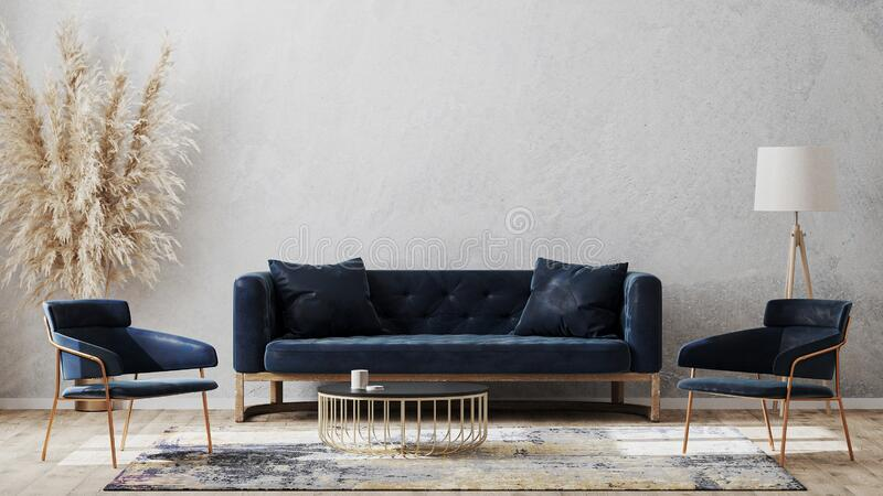 Modern Living Room Mock Up With Dark Blue Sofa Armchairs Near Coffee Table Modern Rug Floor Lamp And Empty Gray Wall Luxury Stock Illustration Illustration Of Luxury Furniture 198976199