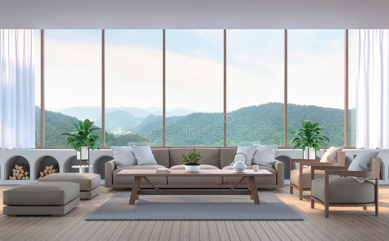 Modern living room with mountain view 3d rendering image. stock image