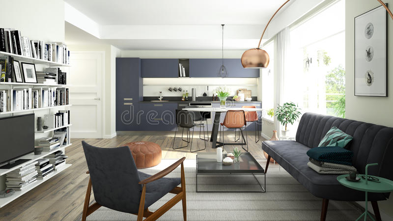 Modern living room with an open kitchen stock photos