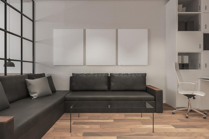 Modern living room with poster royalty free illustration