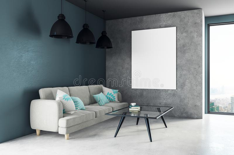 Download Modern Living Room With Poster Stock Illustration