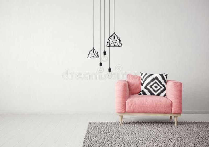 modern living room with red armchair and lamp. scandinavian interior design furniture. vector illustration