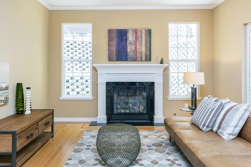 Fireplace embedded in living room. stock photos