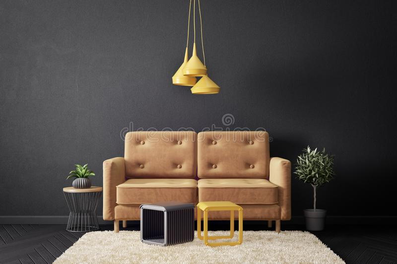 modern living room with sofa and black wall. scandinavian interior design furniture. royalty free illustration
