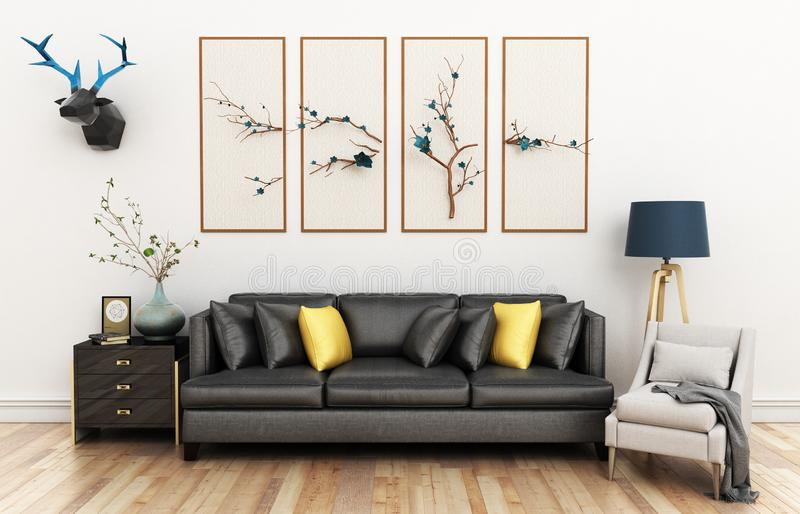 Modern living room with sofa and furniture 3d illustration royalty free illustration