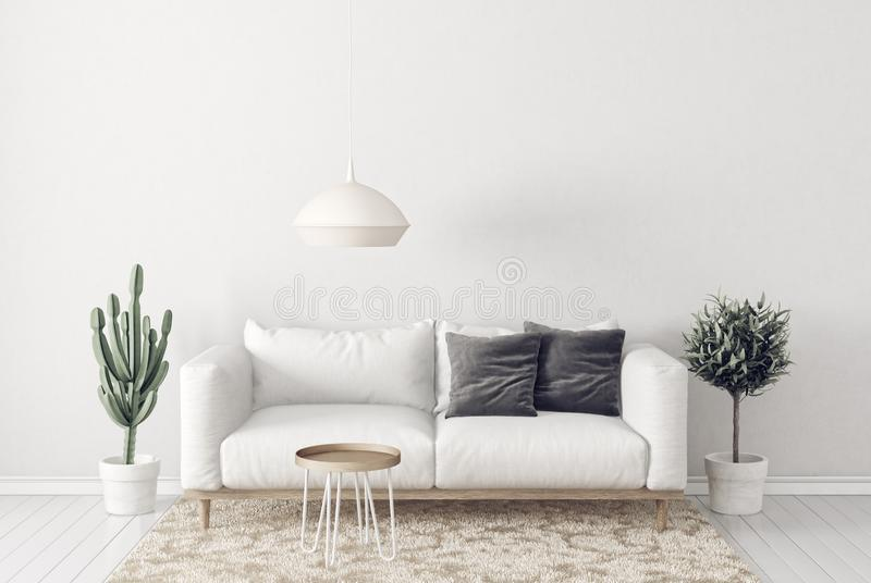 modern living room with sofa and lamp. scandinavian interior design furniture. royalty free illustration