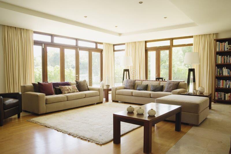Modern living room with sofa stock photo