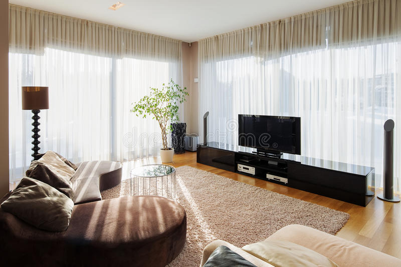 Modern living room with sofa and tv set. royalty free stock image