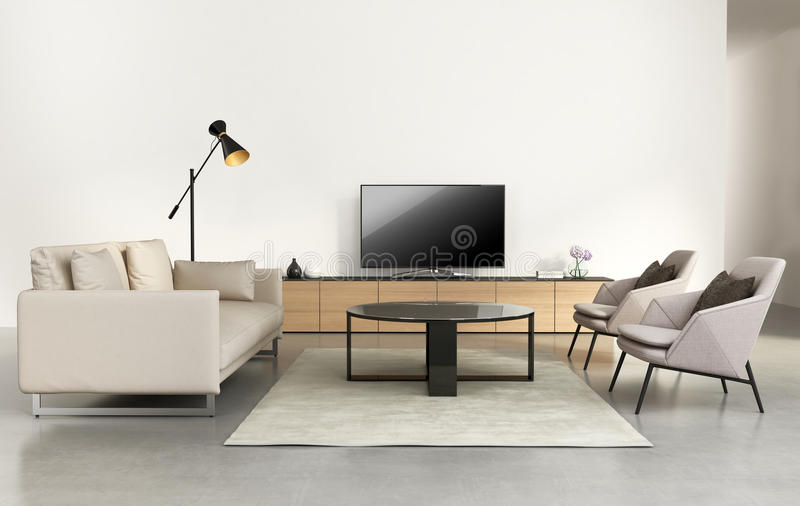 Modern living room with tv wall furniture. Rendering of a Modern living room with tv wall furniture royalty free stock image