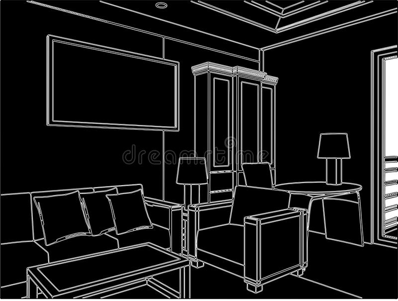 Modern Living Room Vector 05 Stock Vector Illustration
