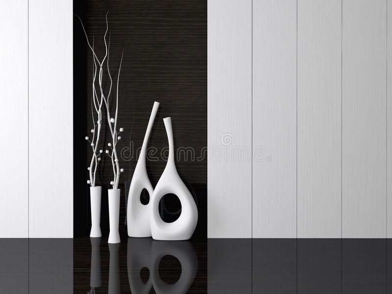 Modern living room wall. Detail shot of modern living room wall. Luxurious vases in the room royalty free stock images