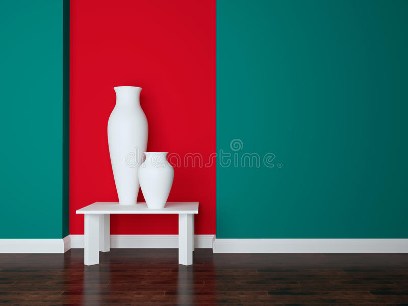 Modern living room wall. Detail shot of modern living room wall. Luxury interior design, vases on the table stock images