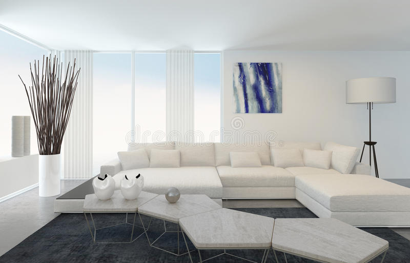 Modern Living Room with White Furniture. Interior of Modern Living Room with White Furniture royalty free illustration