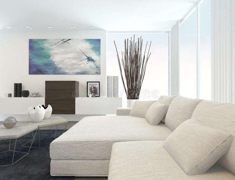 Modern Living Room with White Furniture. Interior of Modern Living Room in Apartment with White Furniture vector illustration