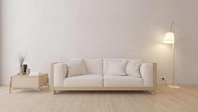 Modern living room with white sofa and lamp royalty free illustration