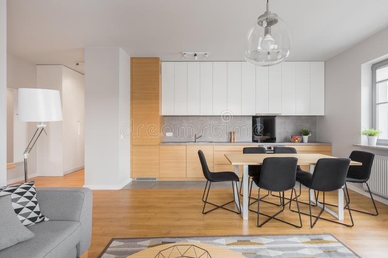 Living room with kitchen and dining area royalty free stock images