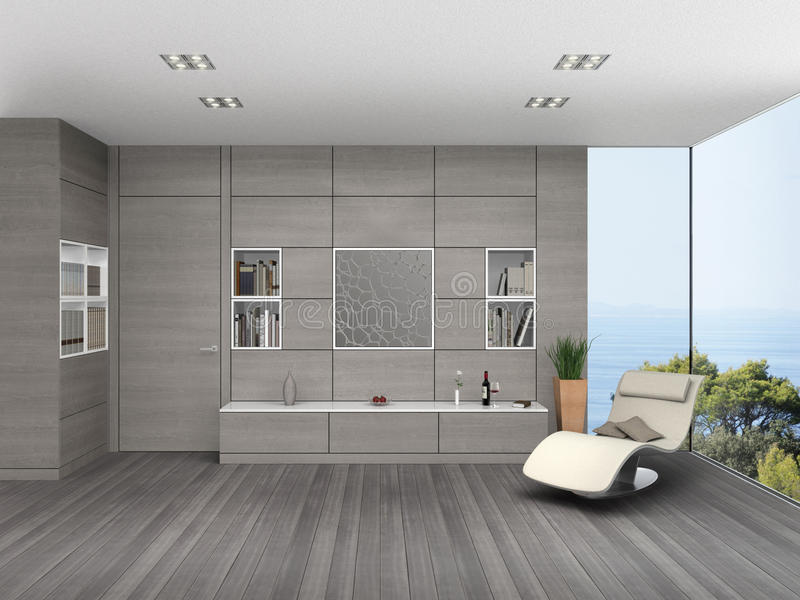 Modern living room with wooden wall cladding. Fictitious 3D rendering of a modern seaside living room stock illustration