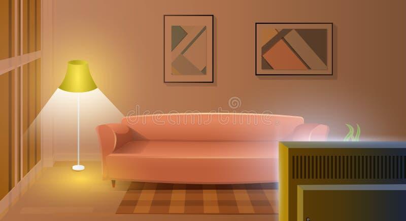 Modern Living Room with Working TV Cartoon Vector. Empty Modern Living Room Interior Cartoon Vector with Comfortable Sofa, Lighted Elegant Floor Lamp, Carpet on stock illustration
