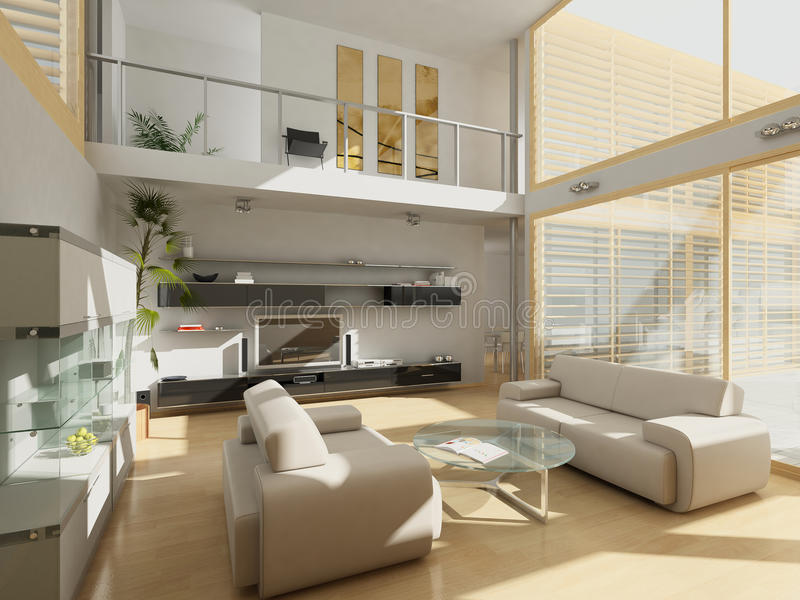 Modern livingroom with large windows. stock photo