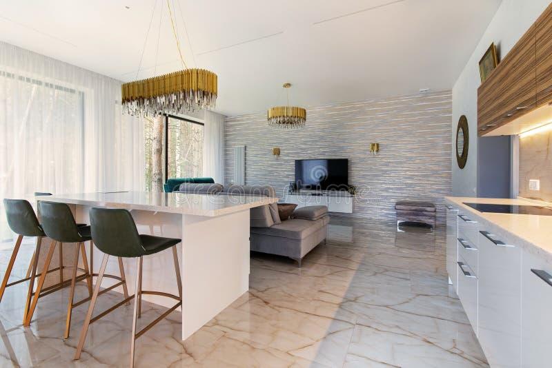 Modern livingroom in luxury apartment royalty free stock photos