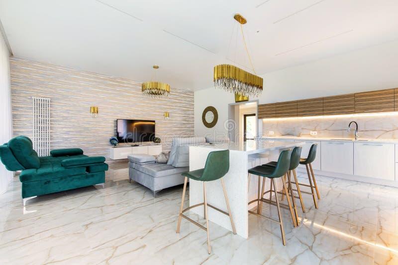 Modern livingroom in luxury apartment royalty free stock image