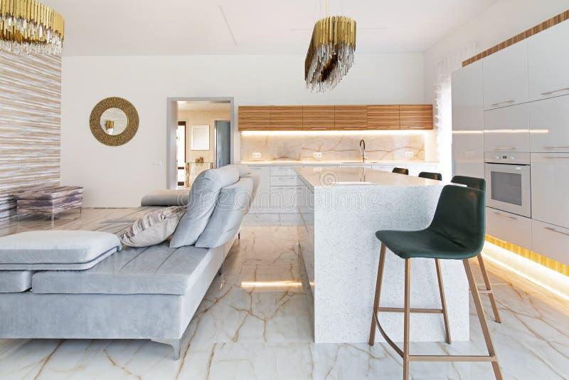 Modern livingroom in luxury apartment stock image
