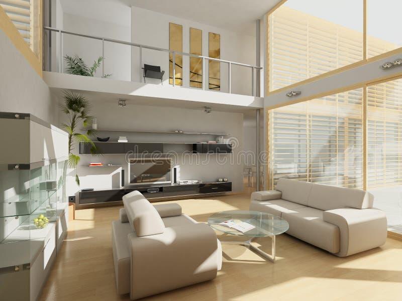 Modern livingroom med stora fönster. arkivfoto