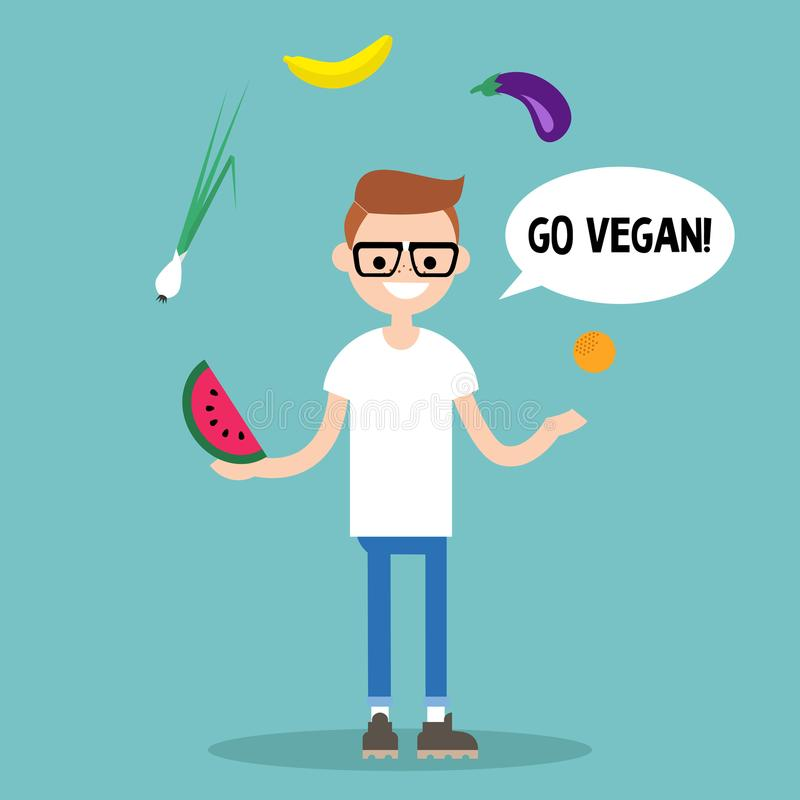 modern livsstil går veganen Ung nerd som jonglerar frukter och veget royaltyfri illustrationer