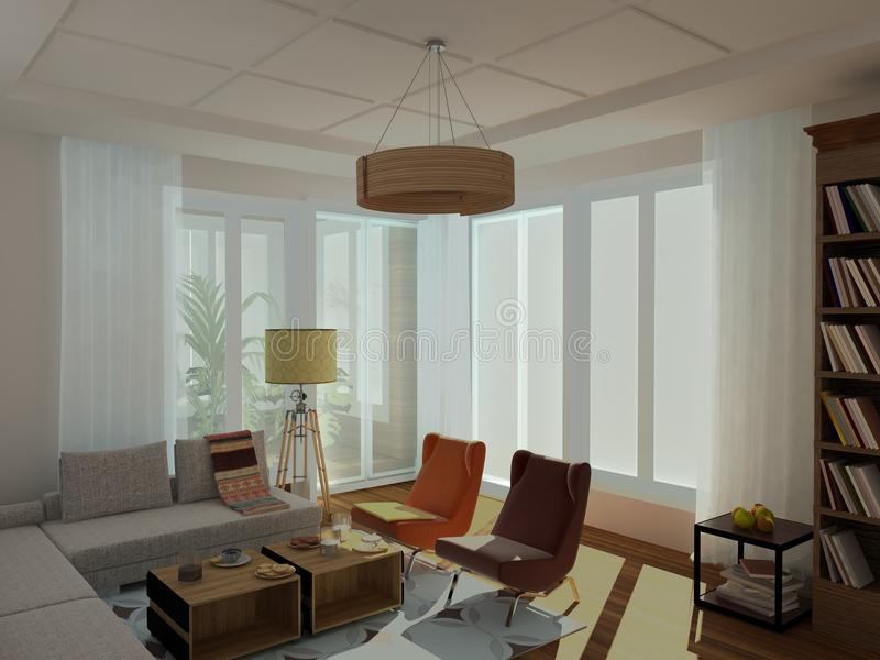 Modern, ljus hemtrevlig vardagsrum, stil för th 60 royaltyfri illustrationer