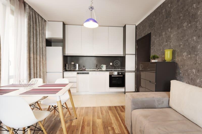 Modern ljus och hemtrevlig vardagsruminredesign med soffan och att äta middag tabellen och kök Grå och vit studiolägenhet royaltyfria foton