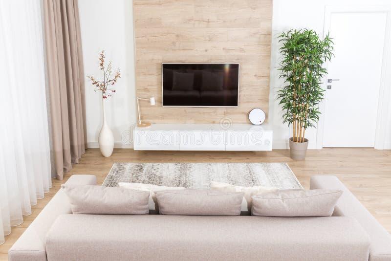 Modern ljus vardagsrum med tvutrustning arkivfoto