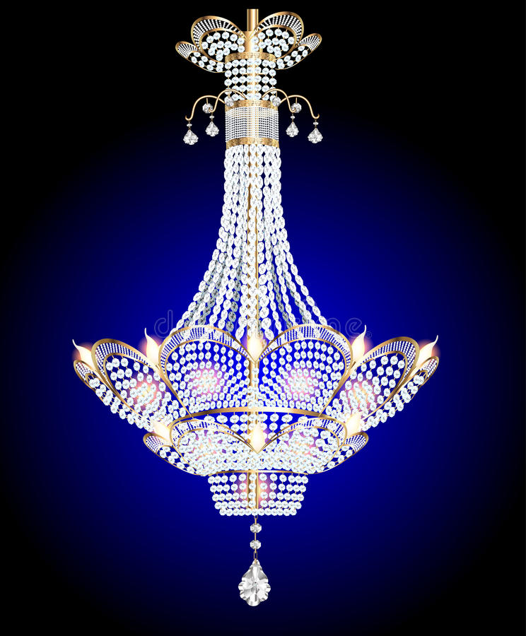 Modern ljuskrona med crystal hängear på en blått stock illustrationer
