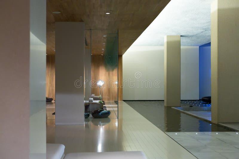 Modern lobby för hotell för fem stjärnor fotografering för bildbyråer