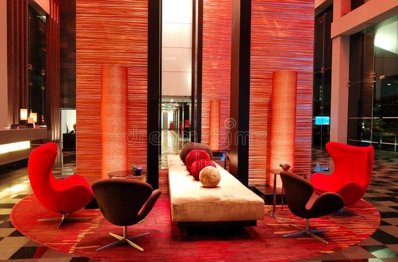 Modern lobby interior in night illumination stock photos