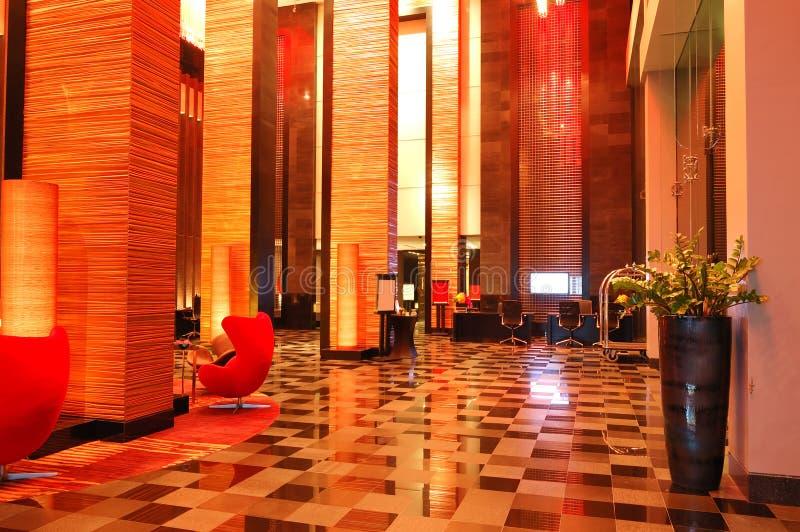 Modern Lobby Interior In Night Illumination Royalty Free Stock Photos