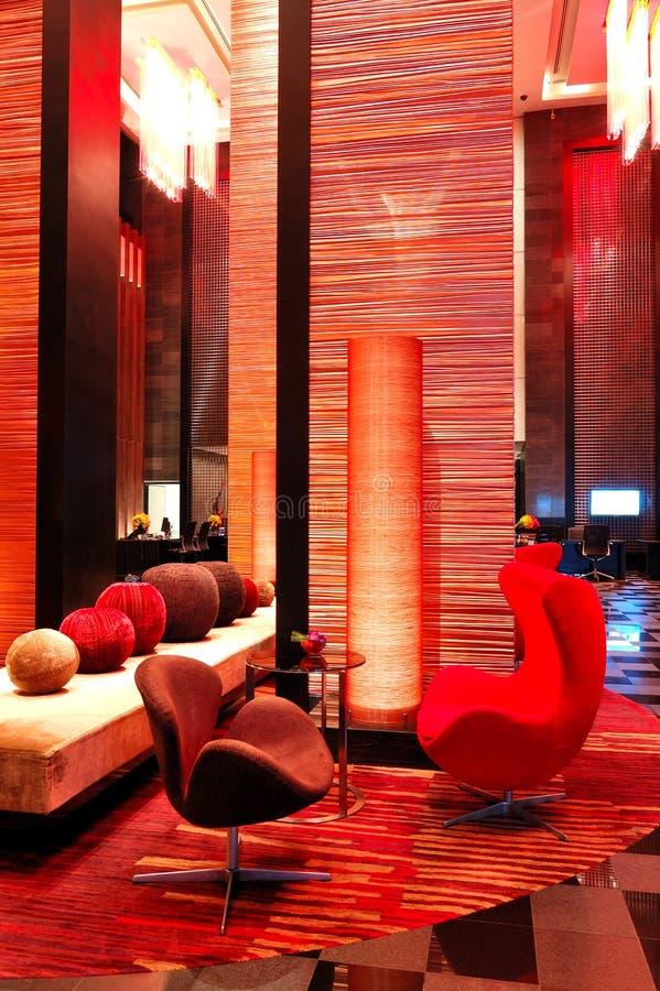 Modern lobby interior in night illumination royalty free stock image