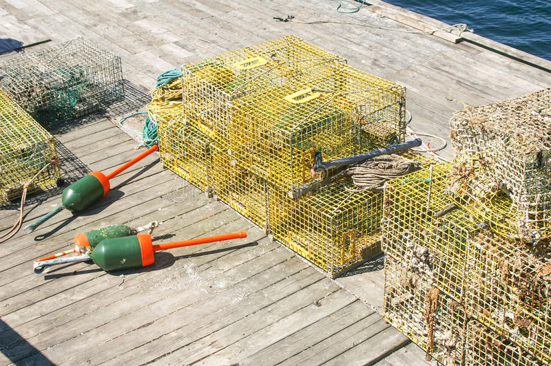 Download Modern Lobster Traps stock photo. Image of nets, pier - 30459546