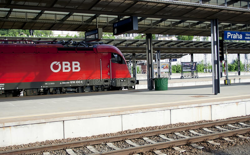 Modern locomotive in Prague railway station, raw royalty free stock photo