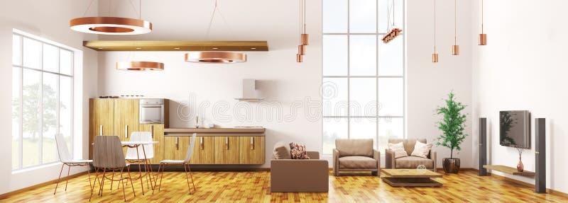 Modern loft apartment interior panorama 3d rendering stock illustration
