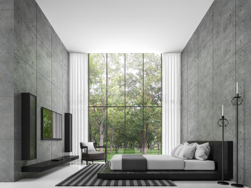 There Is A Polished Concrete Wall. White Floors And Large Windows Overlook  The Garden, Furnished With Black Leather Furniture.