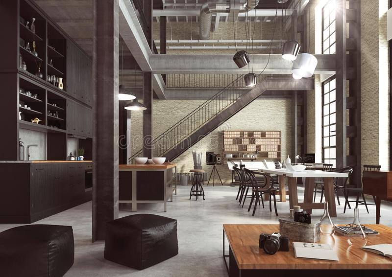 Modern loft designed as an open plan apartment. Modern loft designed as an open plan apartment with open kitchen, dining room, living room, home office and royalty free stock image