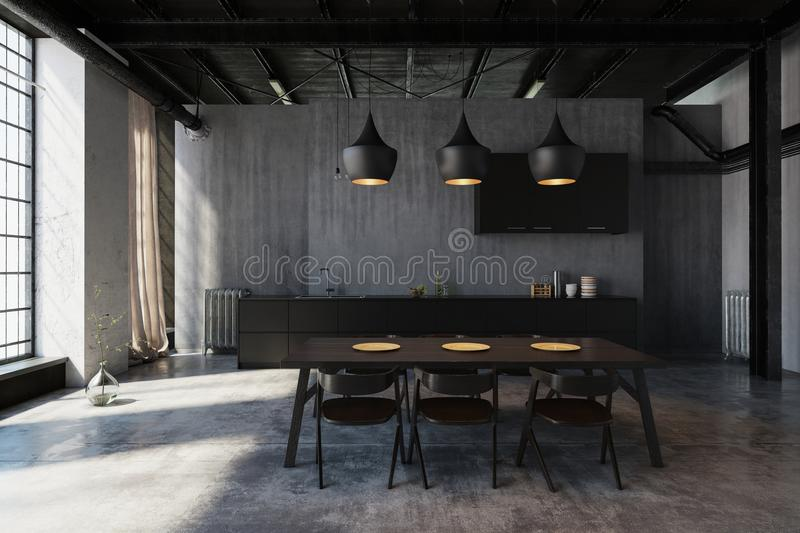 Modern loft dining area with ceiling lights stock illustration